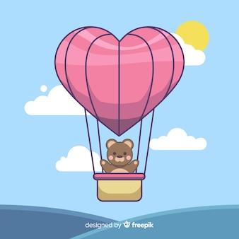 Balão de ar quente em forma de coração
