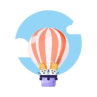 Balão de ar quente, mascote de personagem fofa