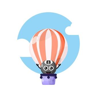 Balão de ar quente, mascote do personagem fofo, bola de bilhar