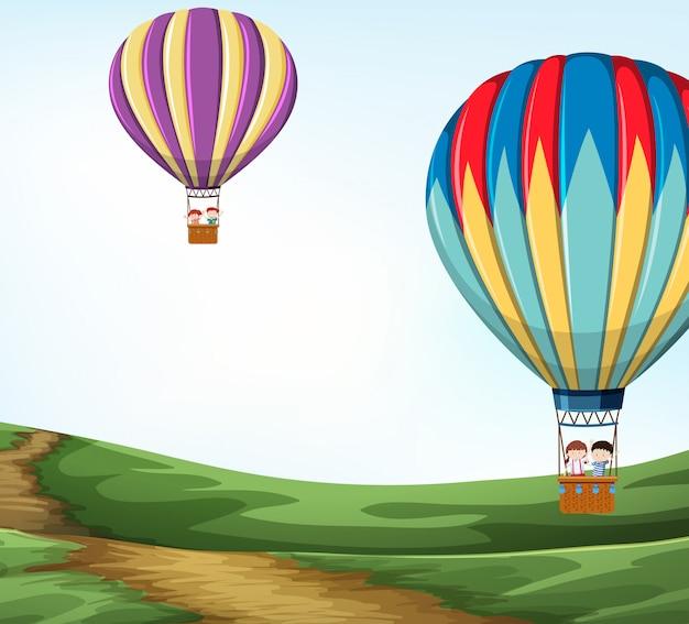 Balão de ar quente na natureza