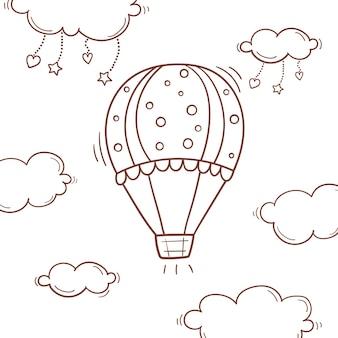 Balão de ar quente no céu com nuvens, corações e estrelas em estilo doodle.