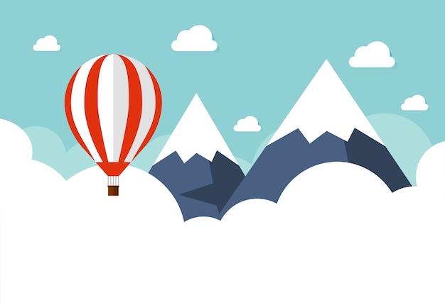 Balão de ar quente no céu com nuvens. design plano dos desenhos animados.