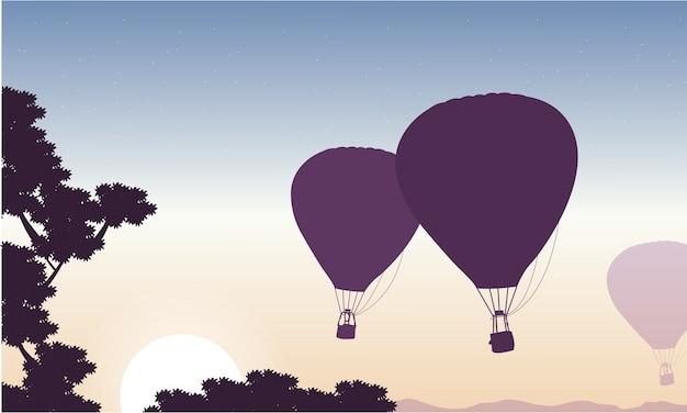 Balão de ar quente no céu paisagem de beleza