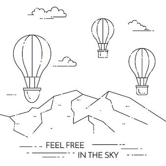 Balão de ar quente no céu sob montanhas isoladas no fundo branco
