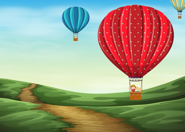 Balão de ar quente no céu
