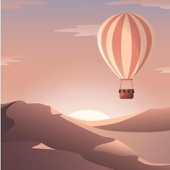 Balão de ar quente no deserto balão aeróstato balão ao pôr do sol no deserto