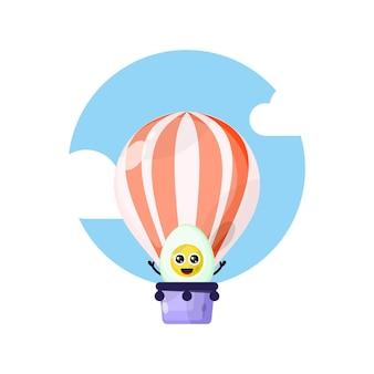 Balão de ar quente ovo cozido mascote personagem fofa
