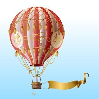 Balão de ar quente realista com decoração vintage, voando no céu azul com fita dourada em branco