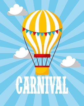 Balão de ar quente retro carnaval divertido justo