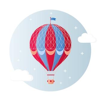 Balão de ar quente retrô vintage com cesta no céu isolado no fundo. desenho de desenho animado