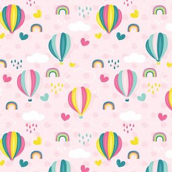 Balão de ar quente rosa