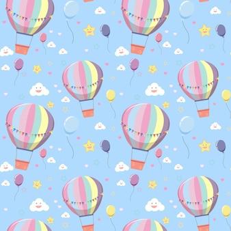 Balão de ar quente sem costura com padrão de nuvem e estrela em fundo azul brilhante