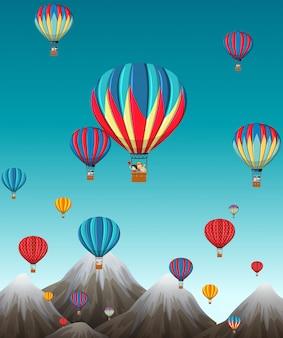 Balão de ar quente sobre moutains