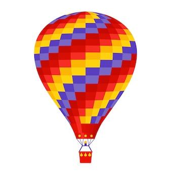Balão de ar quente. . um balão de vôo dos desenhos animados com cesta.