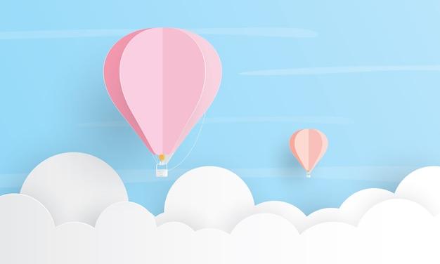 Balão de ar quente voando acima da nuvem, conceito de férias, corte de camada de papel