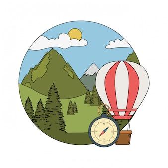 Balão de ar quente voando com pinheiros e mountians cena