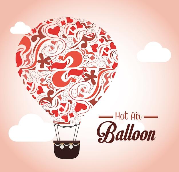 Balão de ar sobre ilustração vetorial de fundo rosa