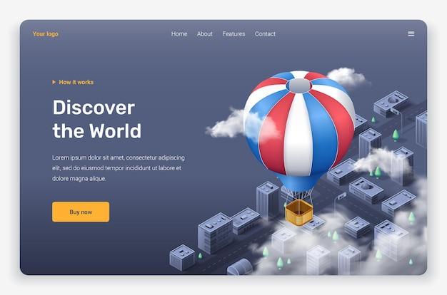 Balão de ar voador isométrico e nuvens acima da cidade. modelo de página de destino.