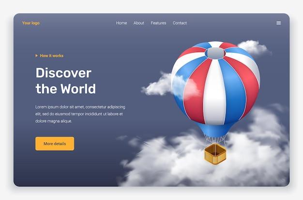 Balão de ar voador isométrico e nuvens. modelo de página de destino.