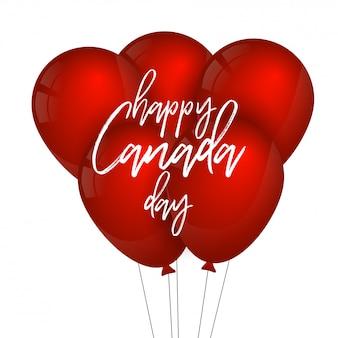 Balão de cor vermelha com tipografia do dia do canadá