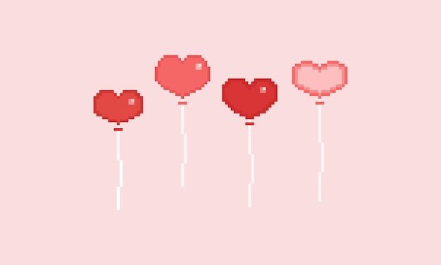 Balão de coração de dia dos namorados de pixel