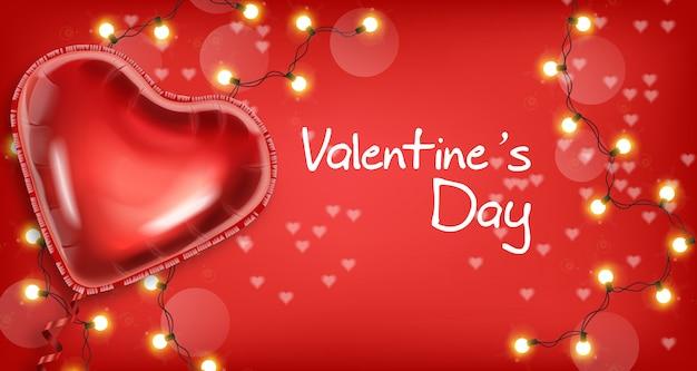 Balão de coração de dia dos namorados e luzes