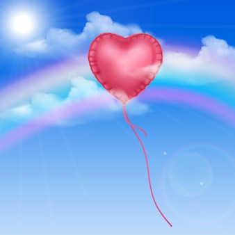 Balão de coração no céu azul