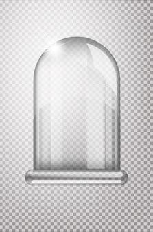 Balão de cristal mágico de vidro. bulbo de neve vazio. balão de vidro transparente branco em um carrinho. bulbo de vidro de natal em fundo transparente. objeto transparente para designflask,