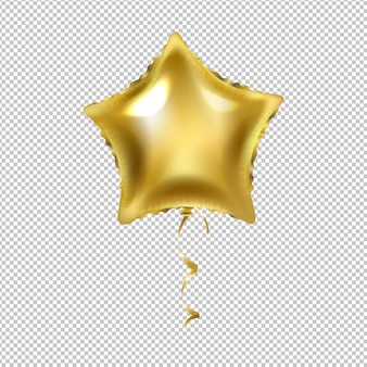 Balão de estrela dourada isolado transparente