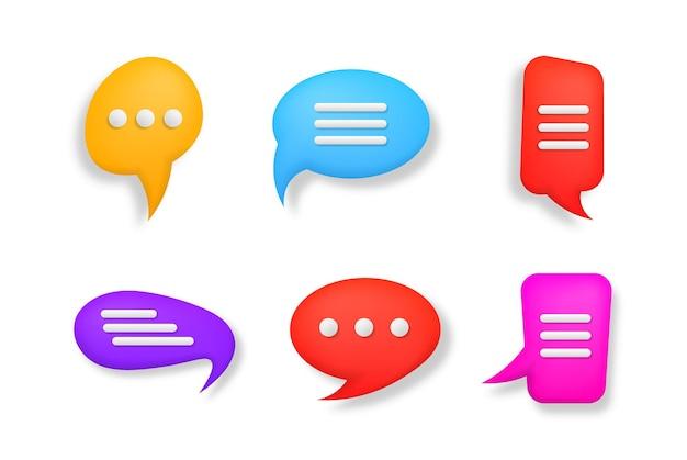 Balão de fala 3d colorido, mensageiro de diálogo ou conceito de suporte online
