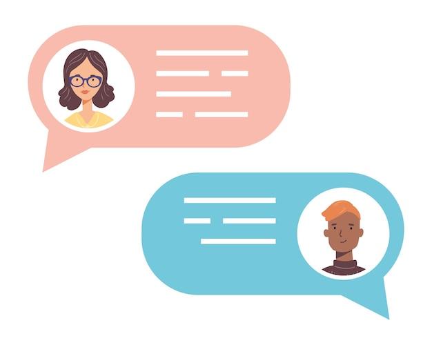 Balão de fala com avatares de pessoas que falam. conceito de chat, mensagem, comunicação web, mensageiro.
