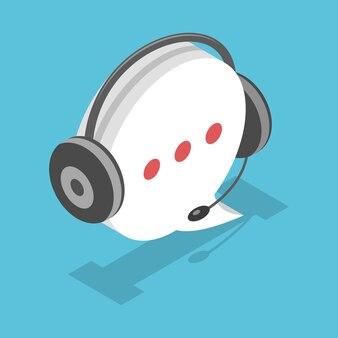 Balão de fala com ícone de fone de ouvido