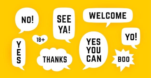 Balão de fala. conjunto de mensagem de bate-papo, conversa na nuvem, bolha do discurso. balão de fala branco, nuvem falar silhueta isolada com texto. elementos para mensagem de bate-papo, rede social, web. ilustração vetorial
