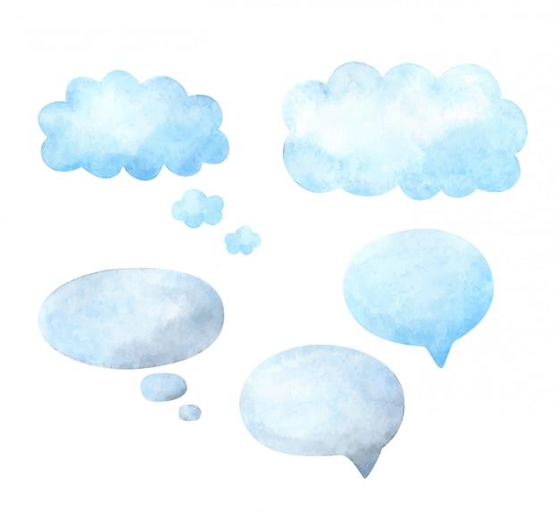 Balão de fala. conjunto de modelos com espaço para texto. quadros em aquarela para réplicas.