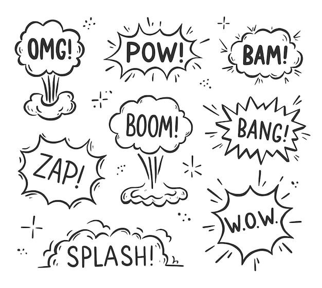 Balão de fala de explosão desenhado à mão