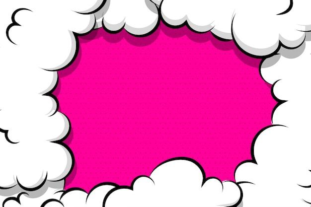 Balão de fala de nuvem de sopro de desenho em quadrinhos para texto cor-de-rosa