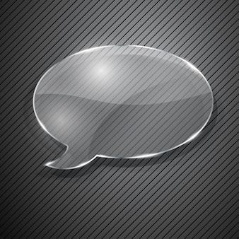 Balão de fala de vidro em fundo cinza listrado