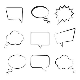 Balão de fala definido ilustração em vetor de formas diferentes