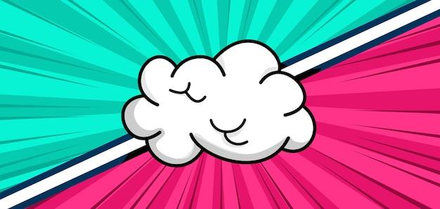 Balão de fala em nuvem em branco sobre fundo de duas cores