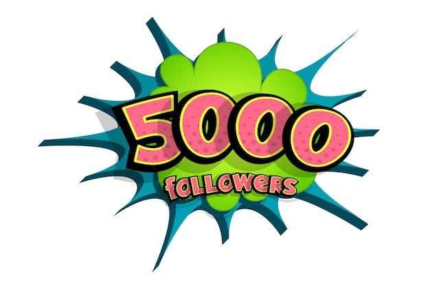 Balão de fala em quadrinhos 3d com texto de 5000 seguidores