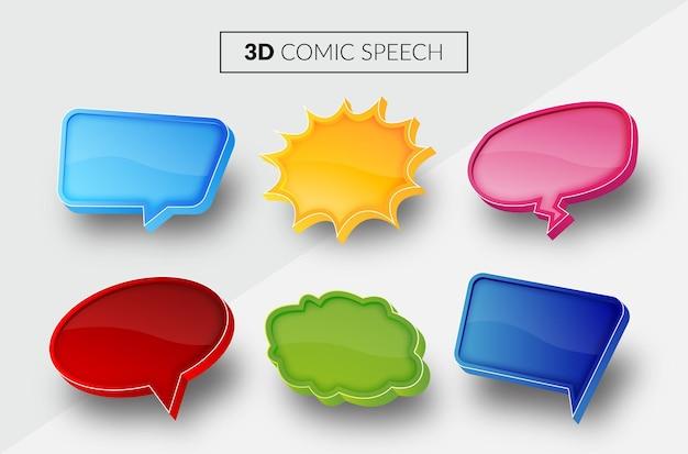 Balão de fala em quadrinhos 3d