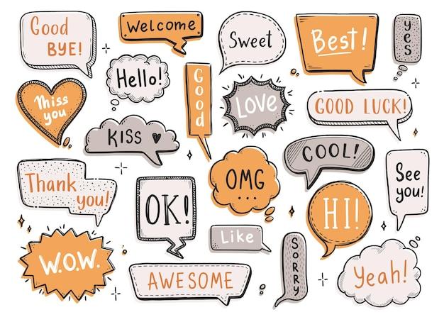 Balão de fala em quadrinhos definido com a palavra de diálogo oi, ok, tchau, bem-vindo. estilo de doodle esboço desenhado de mão. bate-papo da bolha do discurso de ilustração vetorial, elemento de mensagem.
