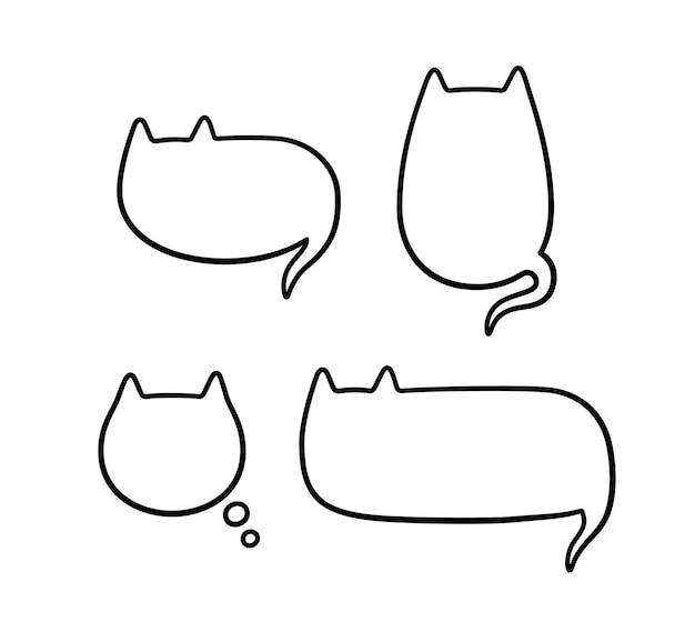 Balão de fala na forma de um gato balão de fala fofo e vazio com orelhas e cauda de gato