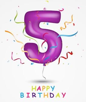Balão de feliz aniversário com o número 5