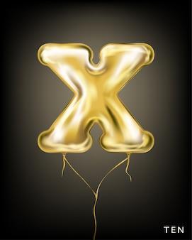 Balão de folha de ouro em forma de x