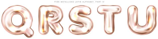 Balão de folha rosa perl, símbolos do alfabeto inflados qrstu
