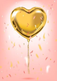 Balão de forma de coração de folha de ouro
