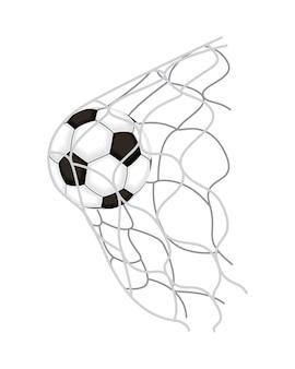 Balão de futebol na rede do gol