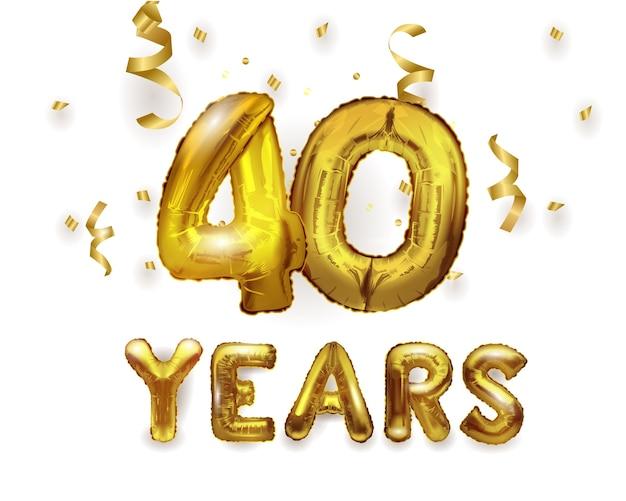 Balão de hélio de folha de ouro de celebração de aniversário de 40 com presentes. balão de folha de número 40.