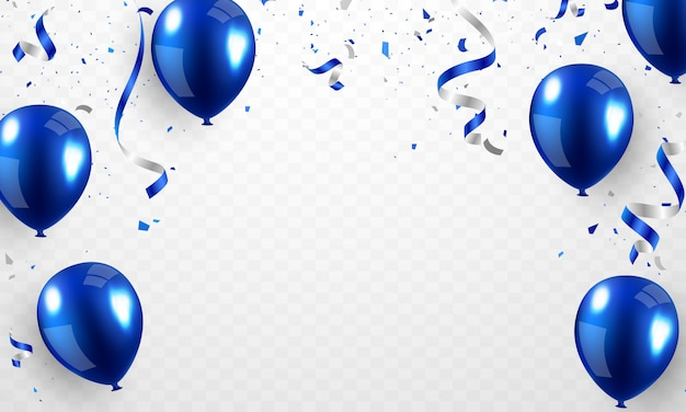 Balão de hélio, design 3d azul realista para decorar festivais, festas e festivais.